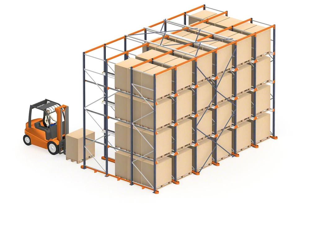 Drive in pallet racking system by Mecalux - installed nationwide across Ireland by Fayco