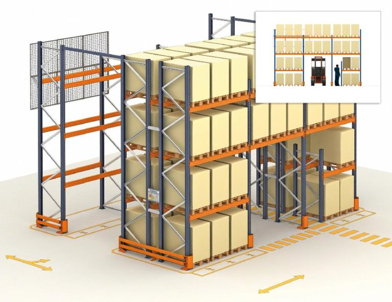 safety underpass under pallet racks for foot traffic and forklift traffic